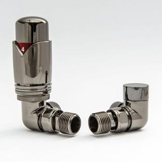 003 Modern TRV Corner Black Nickel Thermostatic Radiator Valves