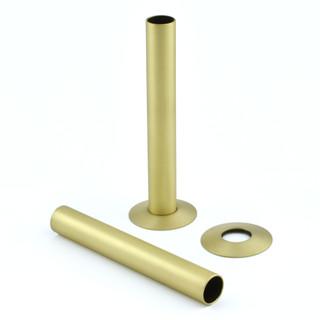 500 Radiator Pipe Shroud 130mm long - Brushed Brass (Pair)