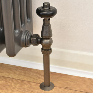 T-TRV-019-AG-PEW-PIP - 019 Traditional TRV Angled Pewter Thermostatic Radiator Valves with Sleeves