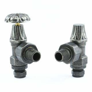 T-MAN-028-AG-PEW - 028 Traditional Manual Angled Pewter Radiator Valves