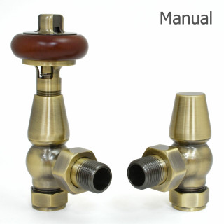 T-MAN-021-AG-AB-THUMB - 021 Traditional Manual Angled Antique Brass Radiator Valves