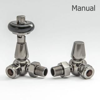 T-MAN-022-CR-BL - 022 Traditional Manual Corner Black Nickel Radiator Valves