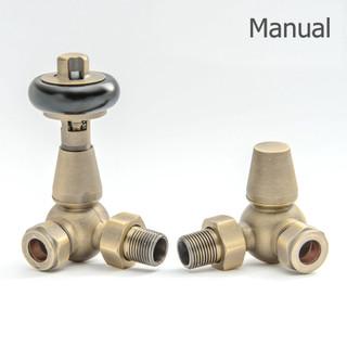 T-MAN-022-CR-OEB - 022 Traditional Manual Corner Old English Brass Radiator Valves