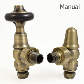 T-MAN-045-AG-AB - 045 Traditional Manual Angled Antique Brass Radiator Valves