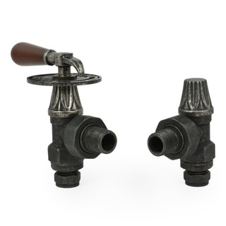 T-MAN-030-AG-PEW - 030 Traditional Manual Angled Pewter Radiator Valves