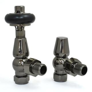 T-MAN-021-AG-BL - 021 Traditional Manual Angled Black Nickel Radiator Valves
