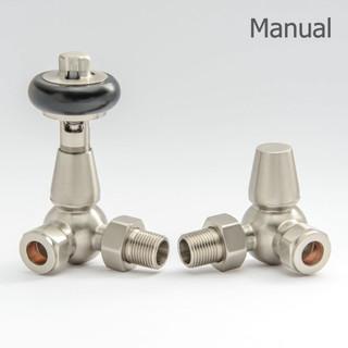T-MAN-022-CR-SN-THUMB - 022 Traditional Manual Corner Satin (Brushed) Nickel Radiator Valves
