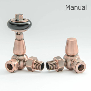 T-MAN-022-CR-AC-THUMB - 022 Traditional Manual Corner Antique Copper Radiator Valves