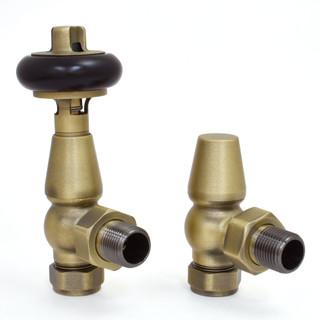 T-MAN-021-AG-OEB - 021 Traditional Manual Angled Old English Brass Radiator Valves