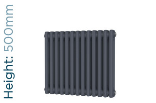DR-A-COL-2-50592-TH - Cheltenham Anthracite 2 Column Horizontal Radiator H500mm x W592mm