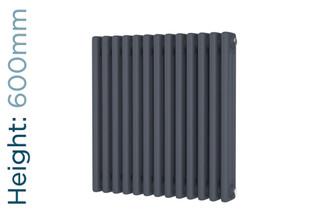 DR-A-COL-3-60599-TH - Cheltenham Anthracite 3 Column Horizontal Radiator H600mm x W605mm