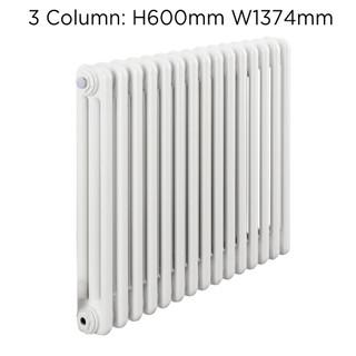 CLR3-600X1374W - Fontwell White 3 Column Horizontal Radiator H600mm X W1374mm