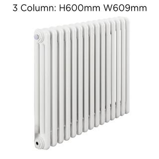 CLR3-600X609W - Fontwell White 3 Column Horizontal Radiator H600mm X W609mm