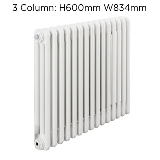 CLR3-600X834W - Fontwell White 3 Column Horizontal Radiator H600mm X W834mm
