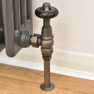 T-TRV-043-AG-PEW-PIP - 043 Traditional TRV Angled Pewter Thermostatic Radiator Valves with Sleeves