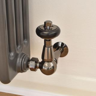 T-TRV-020-CR-BL-PIP - 020 Traditional TRV Corner Black Nickel Thermostatic Radiator Valves with Sleeves