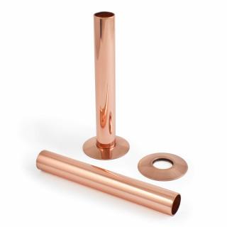500 Radiator Pipe Shroud 130mm long - Polished Copper (Pair)