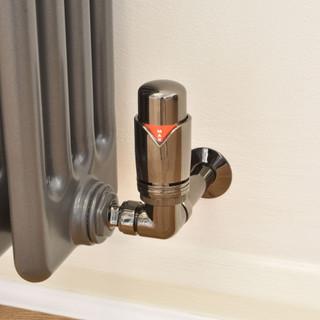 003 Modern TRV Corner Black Nickel Thermostatic Radiator Valves with Sleeves