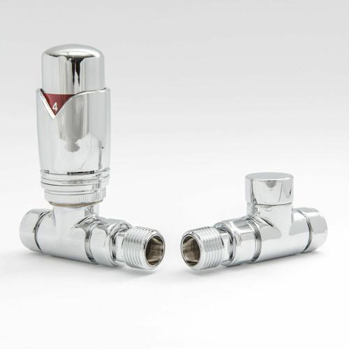 002 Modern TRV Straight Chrome Thermostatic Radiator Valves