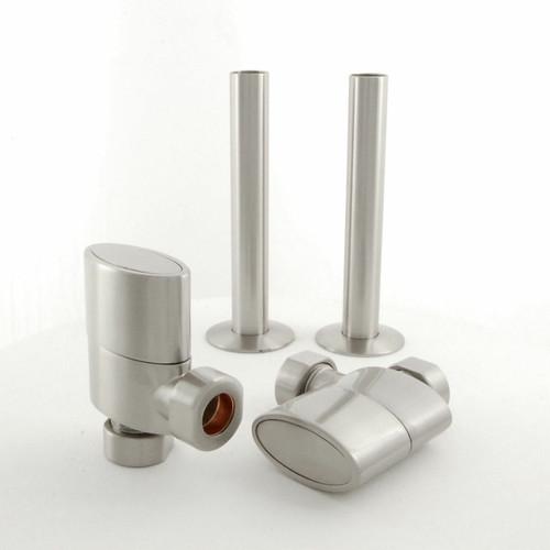 017 Modern Manual Angled Satin (Brushed) Nickel Radiator Valves