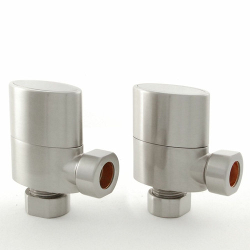 018 Modern Manual Angled Satin (Brushed) Nickel Radiator Valves