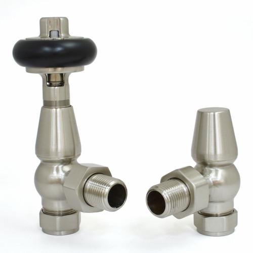T-TRV-019-AG-SN - 019 Traditional TRV Angled Satin (Brushed) Nickel Thermostatic Radiator Valves