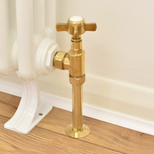 T-MAN-064-AG-UB-PIP - 064 Traditional Manual Angled Unlacquered Brass Radiator Valves with Sleeves