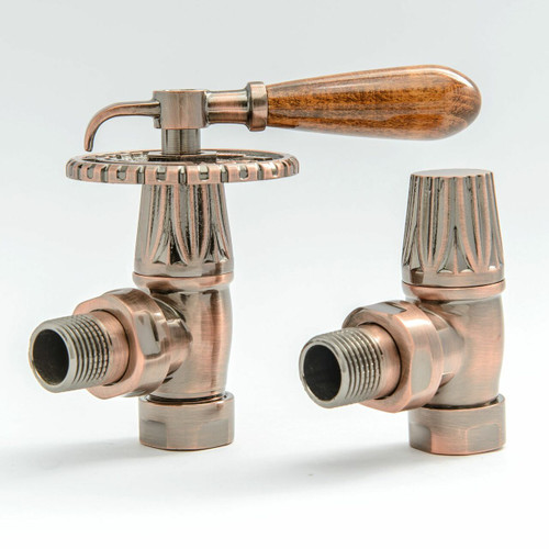 T-MAN-033-AG-AC - 033 Traditional Manual Angled Antique Copper Radiator Valves