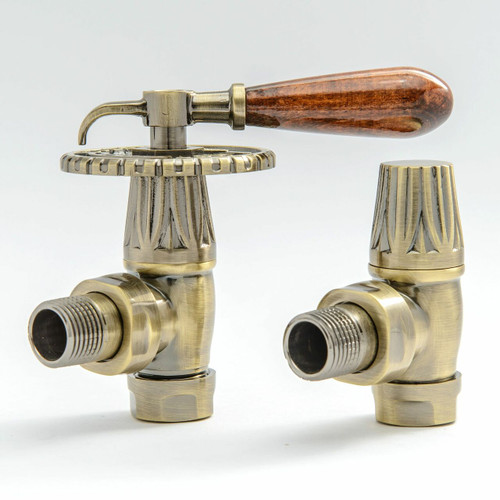 T-MAN-033-AG-AB - 033 Traditional Manual Angled Antique Brass Radiator Valves