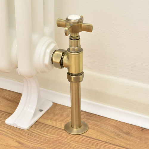 T-MAN-064-AG-AB-PIP - 064 Traditional Manual Angled Antique Brass Radiator Valves with Sleeves