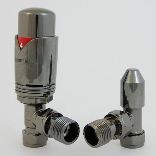 EV-E15TPBN - BiWorld Elegance Wave Modern Thermostatic Angled Radiator Valve - Black Nickel (TRV)