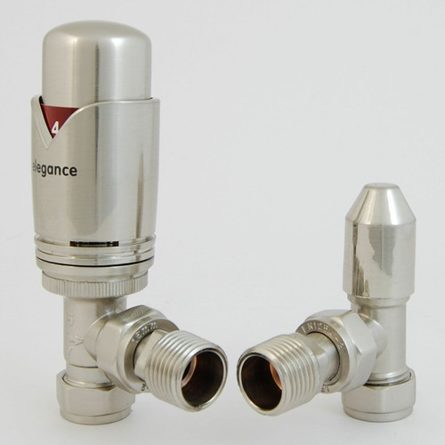 EV-E15TPSN - BiWorld Elegance Wave Modern Thermostatic Angled Radiator Valve - Silver Nickel (TRV)