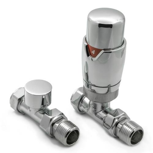 RE-VLV-MDLCS - Reina Modal Modern Thermostatic Straight Radiator Valve - Chrome