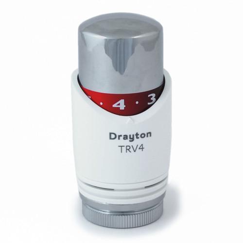 SC-0725006 - Drayton Replacement Head For TRV4 Thermostatic Radiator Valves - White/Chrome
