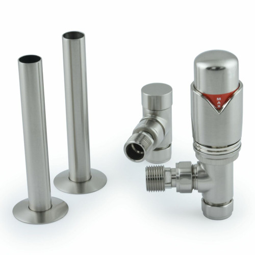 001 Modern TRV Angled Satin (Brushed) Nickel Thermostatic Radiator Valves with Sleeves