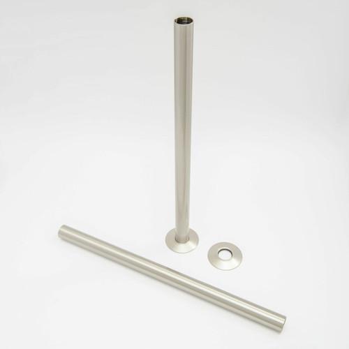 501 Radiator Pipe Shroud 300mm long - Satin (Brushed) Nickel (Pair)