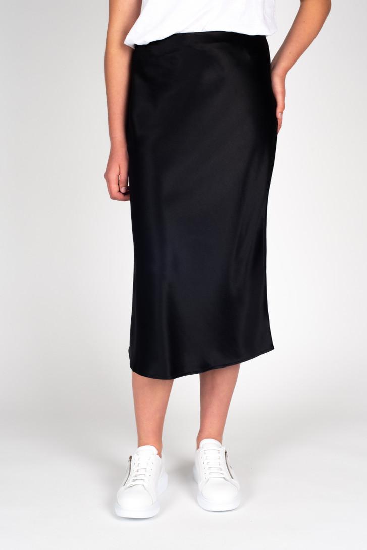 Liquid Skirt Black Satin