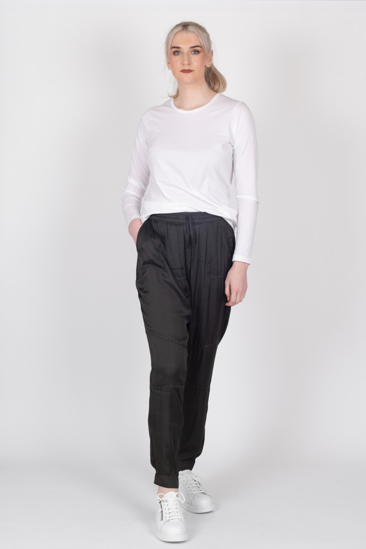 Slouch Satin Pants Army