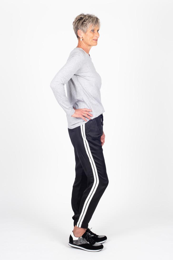 Side Swipe Relax Pant Black Stripe