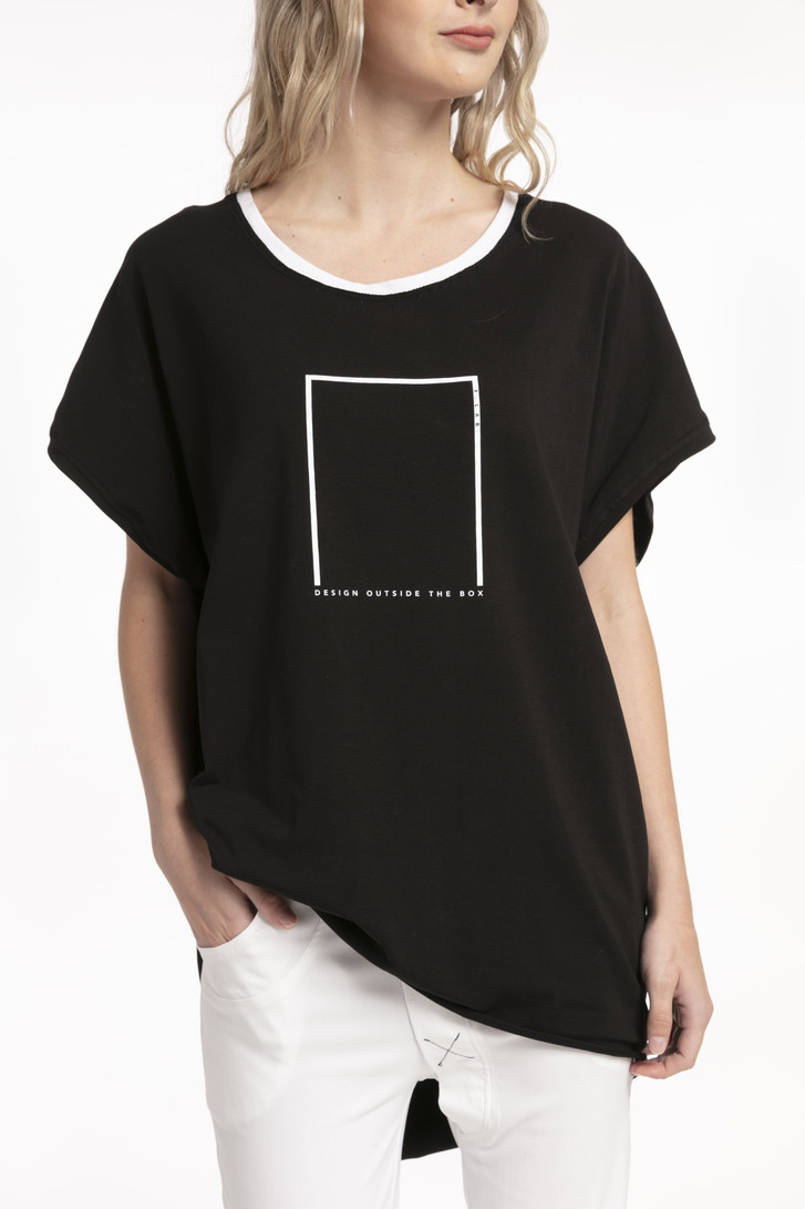Out of Box Tee Black on model close up