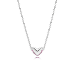 Heart necklace in 925 sterling silver with pink sapphires
