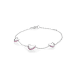 Heart bracelet in 925 sterling silver with pink sapphires