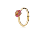 Hexagon Ring - Rubies in 18K Yellow Gold