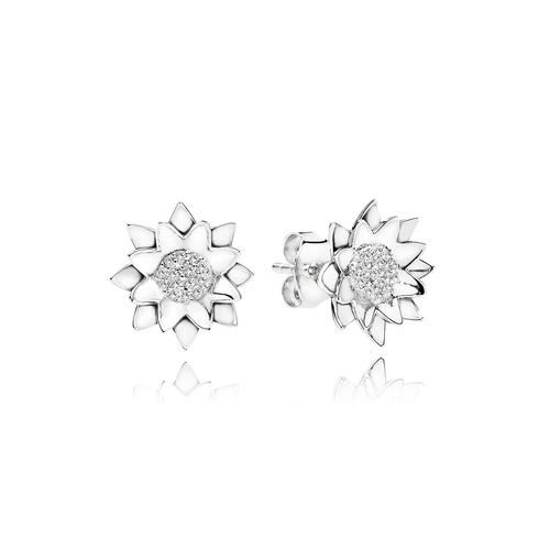 Lotus Earrings - G/vs Diamonds in 18 kt. White Gold