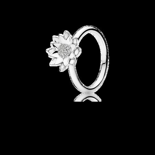 Lotus Ring - Diamonds in 18K White Gold