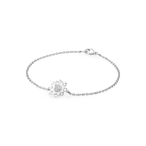 Lotus Bracelet - Diamonds in 18K White Gold