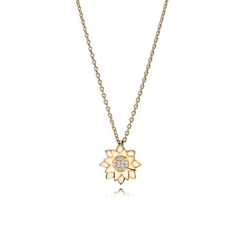 Lotus Necklace - Diamonds in 18K Yellow Gold