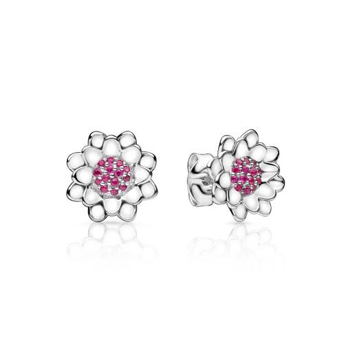Lotus Earrings - Rubies in 925 Sterling Silver