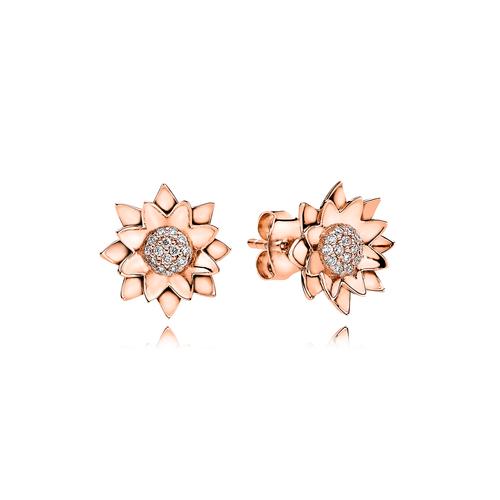 Lotus Earrings - G/vs Diamonds in 18 kt. Rose Gold
