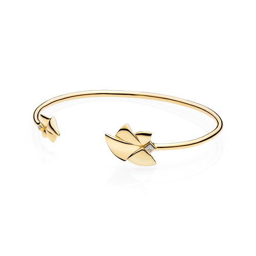 Angel of Purity Bangle - White G/vs Diamonds in 18 K Yellow Gold